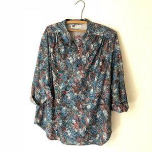 vintage Silky Poly floral top plus size XXL 1X